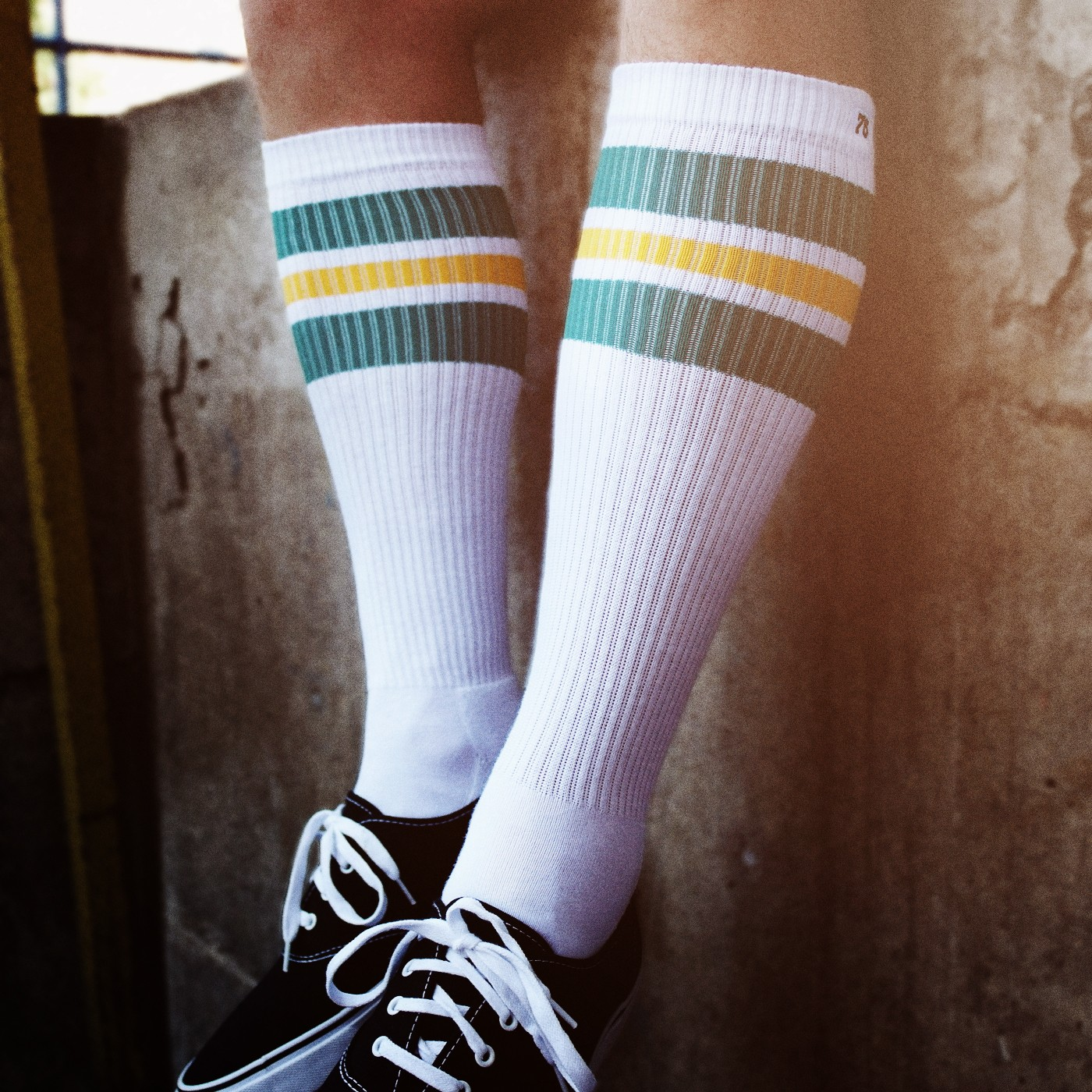 178f14697 knee high retro socks with green   yellow stripes! - Spirit of 76